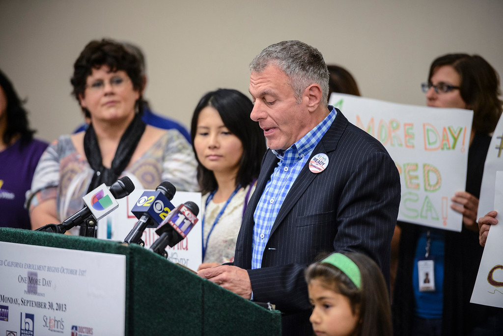 . Jim Mangia, President & CEO of St. John\'s Well Child & Family Center  talks about how Obama Care has helped pay for many improvements at the St. John\'s Well Child & Family Center in Los Angeles, CA Monday, September 30, 2013.  St. John\'s held a media event to praise the arrival of Obama Care October 1st.  (Photo by David Crane/Los Angeles Daily News)