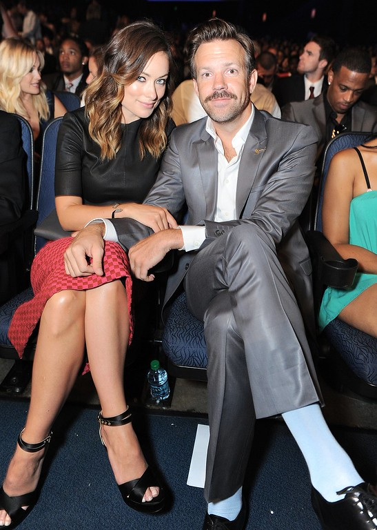 . Olivia Wilde, left, and Jason Sudeikis pose in the audience at the ESPY Awards on Wednesday, July 17, 2013, at Nokia Theater in Los Angeles. (Photo by Jordan Strauss/Invision/AP)