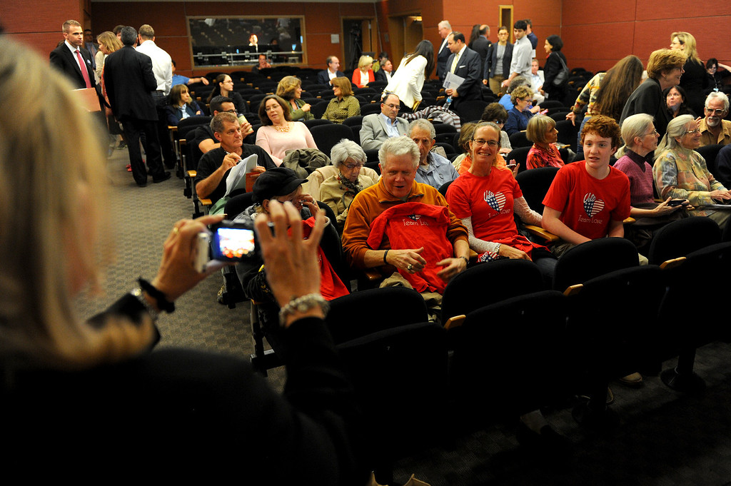 . Candidate Pamela Conley Ulich takes a picture of her parents and campaign supporters before the 3rd District Board of Supervisors debate, Thursday, March 20, 2014, at UCLA�s California NanoSystems Institute Auditorium. (Photo by Michael Owen Baker/L.A. Daily News)