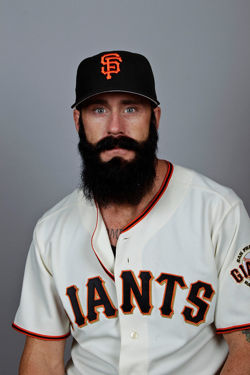 . This is a 2012 photo of Brian Wilson of the San Francisco Giants baseball team. This image reflects the San Francisco Giants active roster as of Thursday, March 1, 2012 when this image was taken.  (AP Photo/Morry Gash)