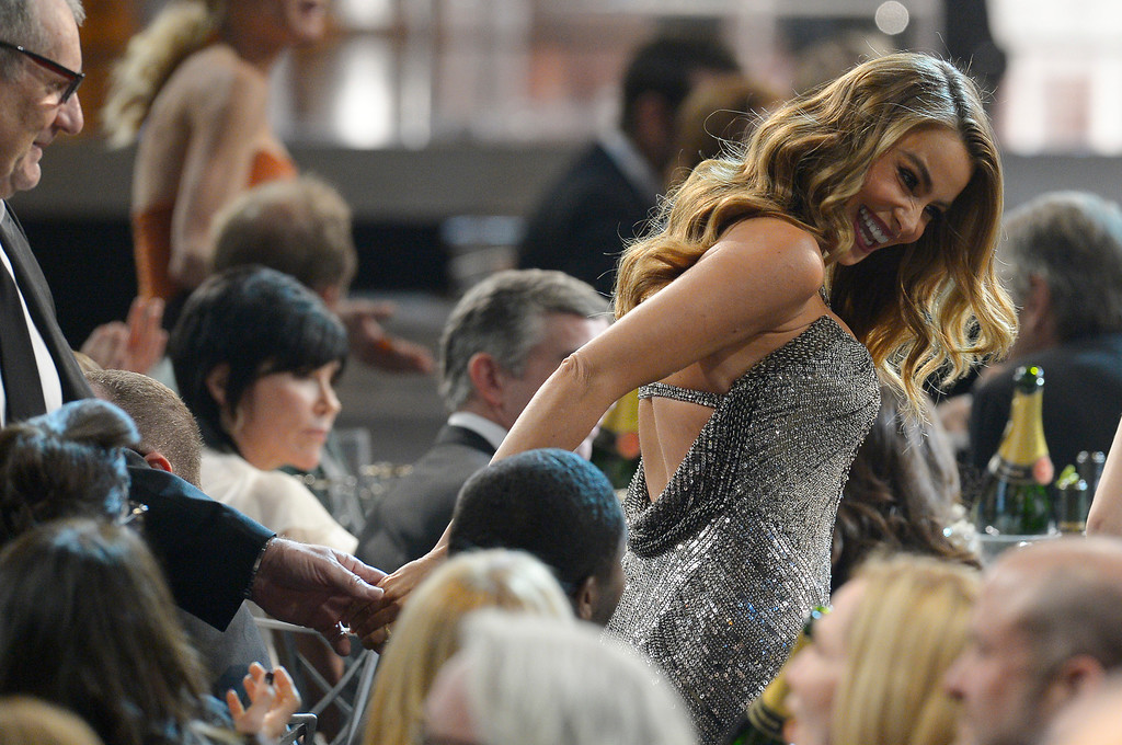 . Sofia Vergara makes her way to the stage  during the show of the 20th Annual Screen Actors Guild Awards  at the Shrine Auditorium in Los Angeles, California on Saturday January 18, 2014 (Photo by Andy Holzman / Los Angeles Daily News)