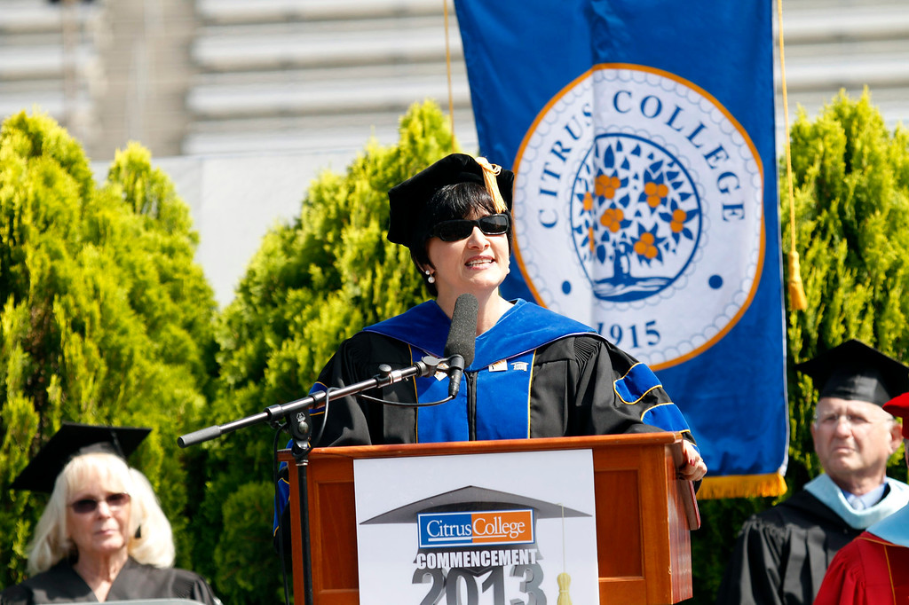 . Dr. Geraldine M. Perri, Superintendent/President, speaks during the Citrus College 97th Commencement Ceremony, at Citrus College Stadium, in Glendora, Saturday, June 15, 2013. (Correspondent Photo by James Carbone/SVCITY)
