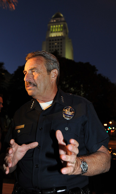 . Chief of Police Charlie Beck speaks to reporters. A group of nearly 100 people, protesting the Trayvon Martin verdict, gathered at Los Angeles City Hall, and then marched a circular route that concluded at the Police Administration Building in Los Angeles, CA. 7/16/2013(John McCoy/LA Daily News)