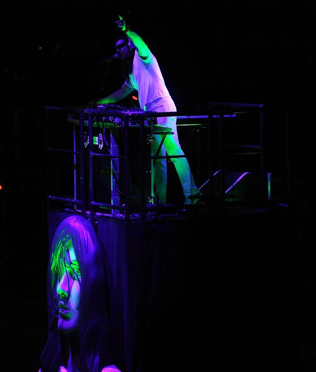 . D.J. Andrew W.K performs at the Verizon Wireless Amphitheatre on Wednesday, Aug. 28, 2013 in Irvine, Calif.   (Keith Birmingham/Pasadena Star-News)