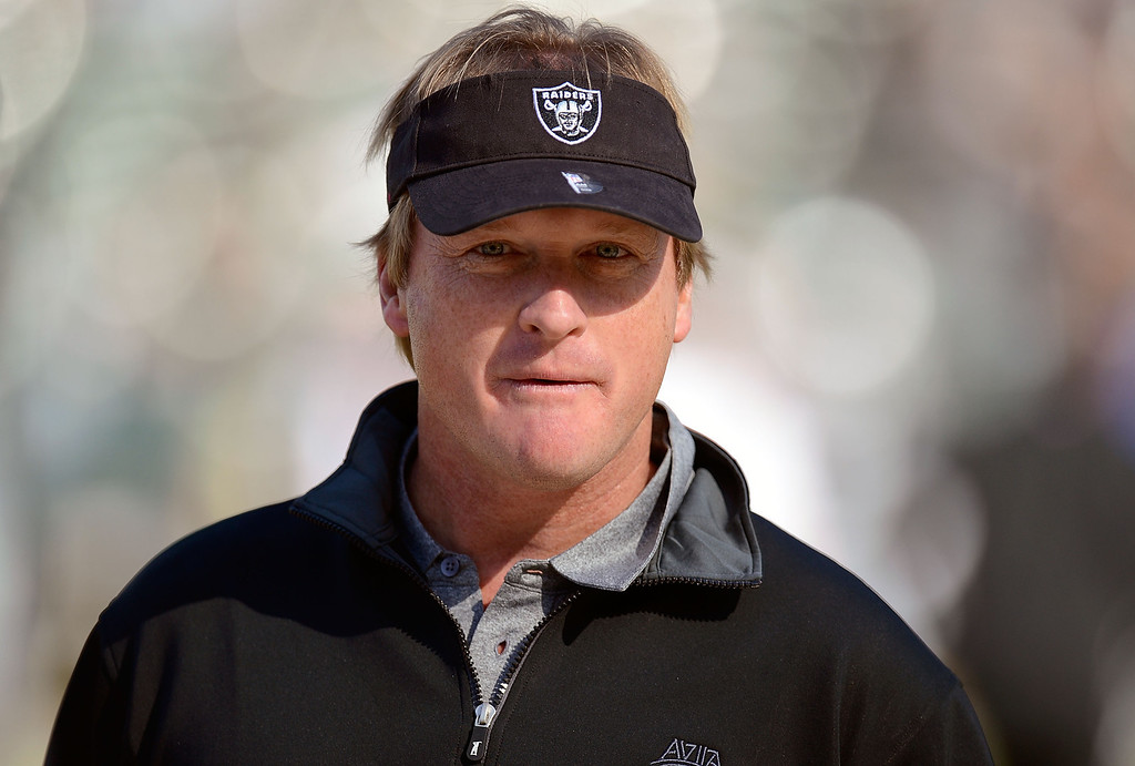 . <b>Jon Gruden</b> <br />Color analyst, Monday Night Football; former head coach, Oakland Raiders and Tampa Bay Buccaneers  (November 18, 2012)   (Photo by Thearon W. Henderson/Getty Images)