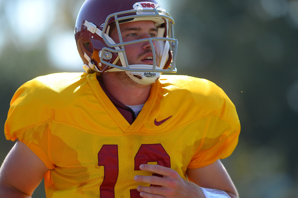 . USC quarterback Max Wittek works out during a practice at the Howard Jones Field at USC Monday August 19, 2013.  The Trojans start the season on August 29th with a game against Hawaii.(Andy Holzman/Los Angeles Daily News)