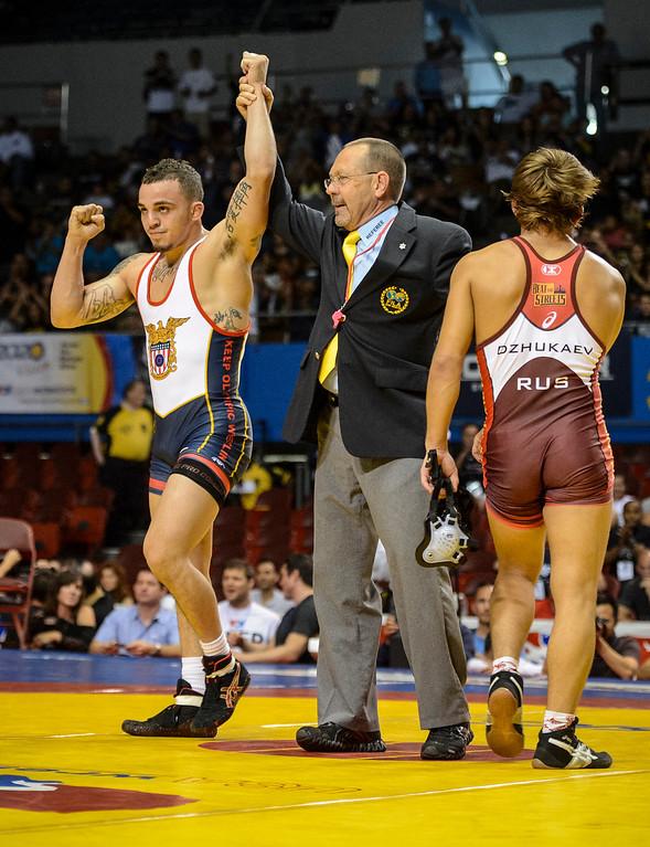 . The USA\'s  Jordan Oliver defeated Rasul Dzhukaev at the USA vs Russia vs Canada dual meet at the Sports Arena Sunday .  Photo by David Crane/Los Angeles Daily News.
