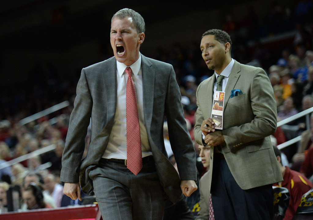 . Southern California head coach Andy Enfield reacts in the first half of a PAC-12 NCAA basketball game against UCLA at Galen Center in Los Angeles, Calif., on Saturday, Feb. 8, 2014. (Keith Birmingham Pasadena Star-News)
