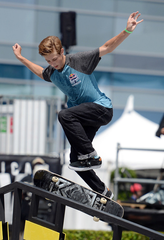 . Ben Sauer during the  X Games Los Angeles Red Bull Phenom Skateboard Street at LA Live Friday, August 2, 2013. (Hans Gutknecht/Los Angeles Daily News)
