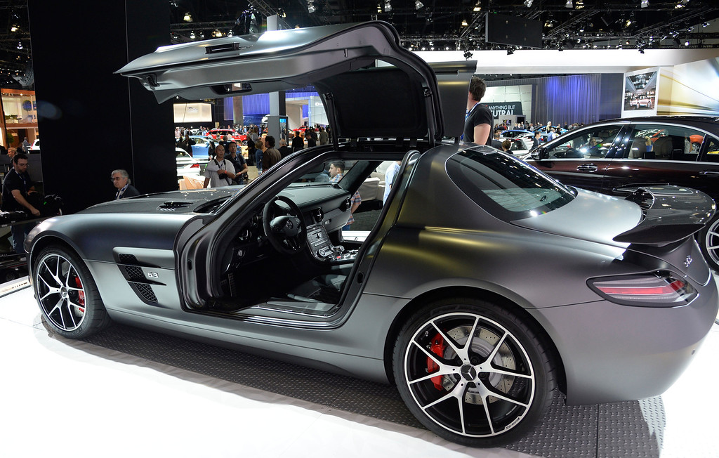 . Nov 20,2013 Los Angeles CA. USA. Mercedes Benz AMG SLS last version of the gullwing door to be made for 2014 is on display during the 2013 Los Angeles Auto Show. Photo by Gene Blevins/LA Daily News