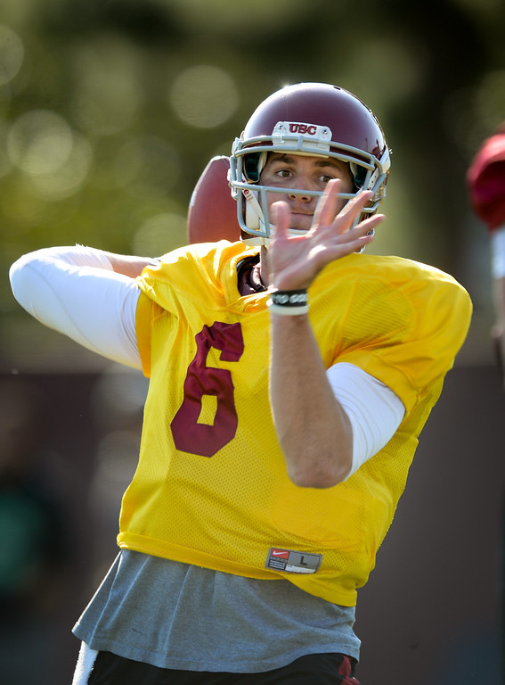 . USC QB Cody Kessler passes at practice, Thursday, March 27, 2014, at USC. (Photo by Michael Owen Baker/L.A. Daily News)