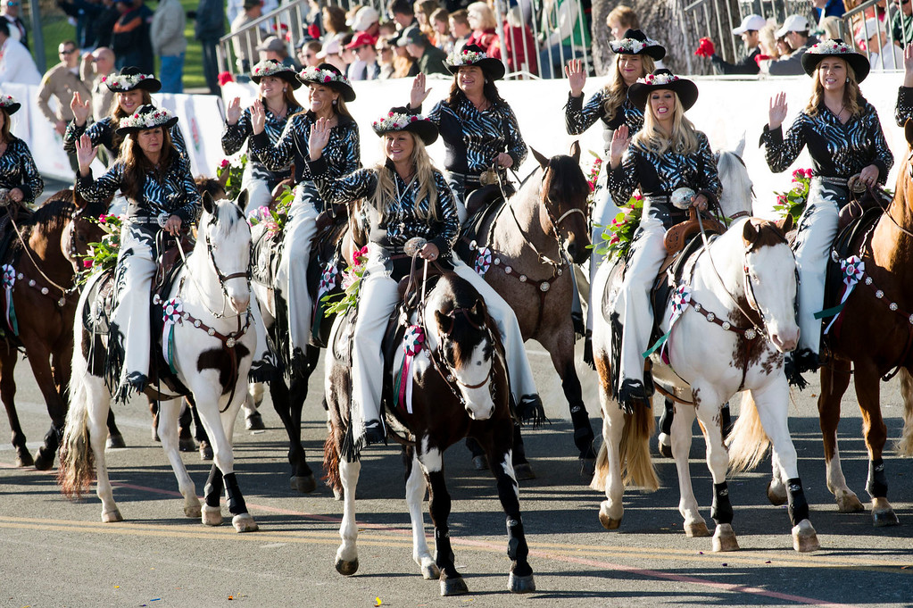 . Norco Cowgirls Rodeo Drill Team during 2014 Rose Parade in Pasadena, Calif. on January 1, 2014. (Staff photo by Leo Jarzomb/ Pasadena Star-News)