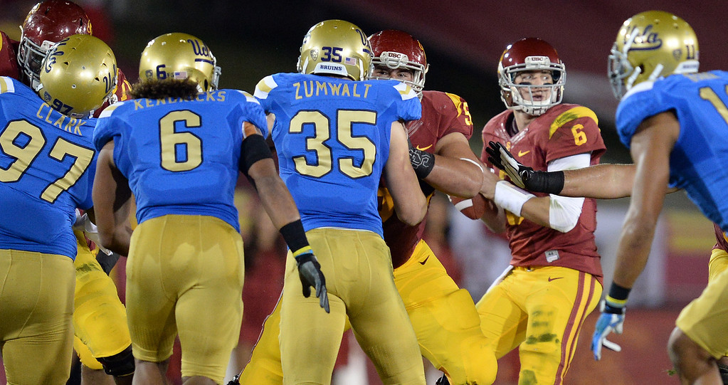 . USC�s Cody Kessler #6 looks to pass during their game against UCLA at the Los Angeles Memorial Coliseum Saturday, November 30, 2013.  (Photo by Hans Gutknecht/Los Angeles Daily News)