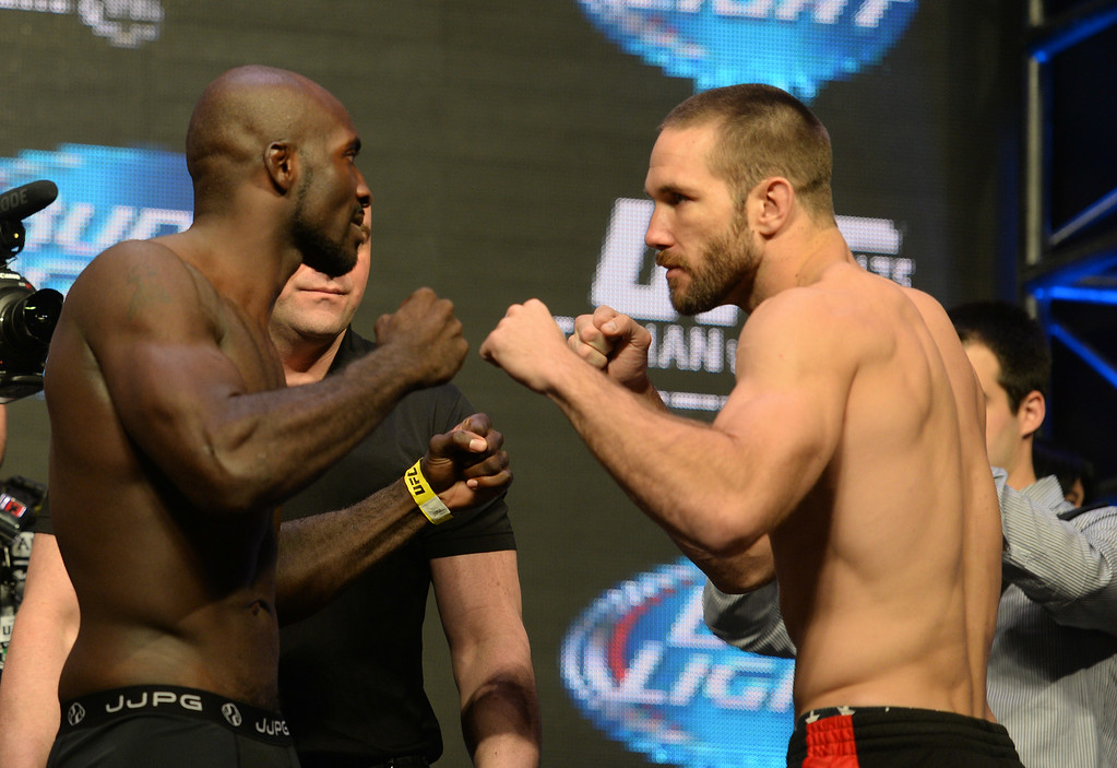 . Kevin Casey and Bubba Bush during weigh ins for UFC 175 at the Mandalay Bay Events Center July 4, 2014. (Photo by Hans Gutknecht/Los Angeles Daily News)