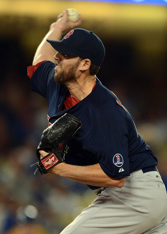 . The Red Sox\'s John Lackey #41 delivers during their game against the Dodgers  at Dodger Stadium Friday, August 23, 2013 in Los Angeles. (Hans Gutknecht/Los Angeles Daily News)
