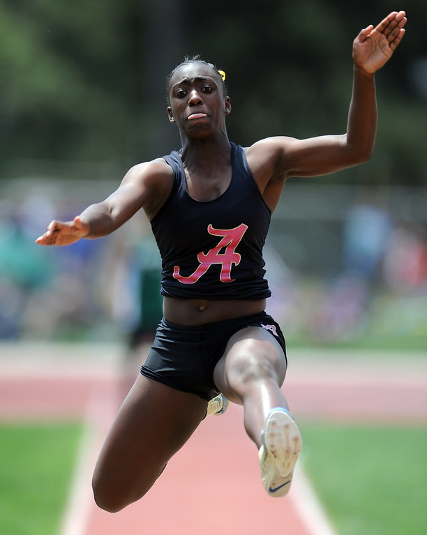 . Alemany\'s Summer Gilliam in the long jump during the CIF-SS track & Field championship finals in Hilmer Stadium on the campus of Mt. San Antonio College on Saturday, May 18, 2013 in Walnut, Calif.  (Keith Birmingham Pasadena Star-News)