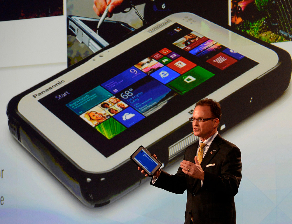 . Jan 6,2014.  Las Vegas NV. USA. President of Panasonic systems company of North America Rancee Poehler shows during the Panasonic press conference with new 7 inch Toughpad FZ-M1 at the 2014 CES media day show Monday. The 2014 CES show starts this Tuesday and runs till Friday with a estimated crowd of 150,000 to attend the show.. Photo by Gene Blevins/LA Dailynews