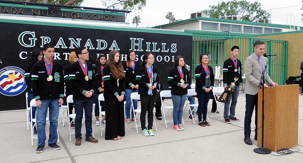 . The Granada Hills Charter High School Academic Decathlon team took second place in the California State Decathlon competition in Sacramento.  El Camino Real Charter High School finished first.  Both teams will travel to Hawaii for the National competition.  The Granada Hills team was greeted with a brief rally and comments from the school\'s Executive Director, Brian Bauer on Monday, March 24, 2014.  (Photo by Dean Musgrove/Los Angeles Daily News)
