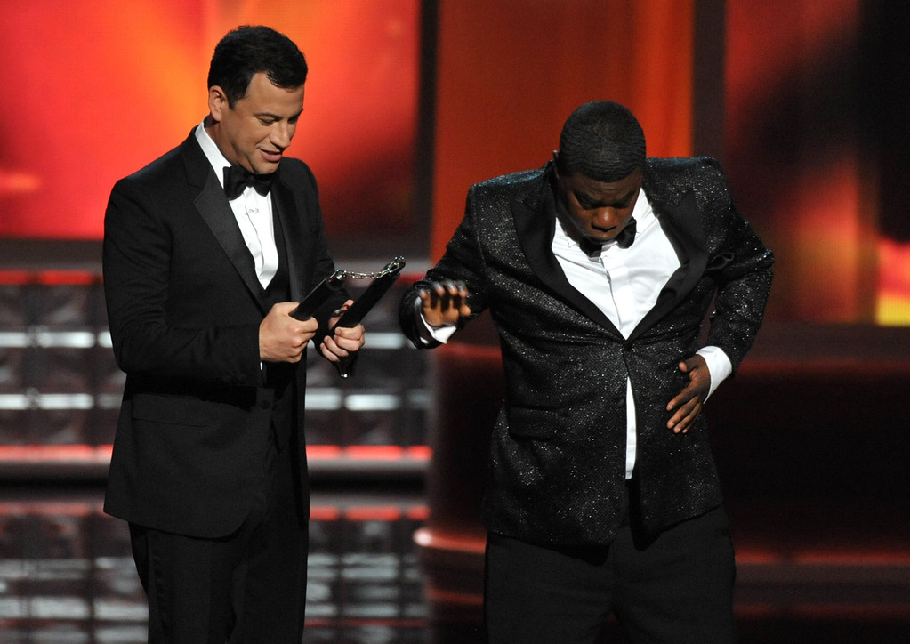. Host Jimmy Kimmel, left, and Tracy Morgan perform onstage at the 64th Primetime Emmy Awards at the Nokia Theatre on Sunday, Sept. 23, 2012, in Los Angeles. (Photo by John Shearer/Invision/AP)