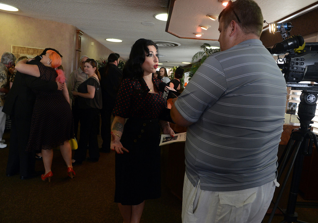 . Friends and family attend a memorial service for Dixie Evans Sunday, September 1, 2013, at Palm Mortuary in Las Vegas. Jennifer Cappuccio Maher/Inland Valley Daily Bulletin