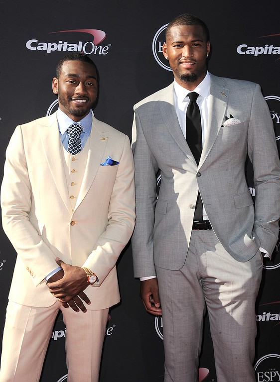 . NBA players John Wall, left, and DeMarcus Cousins arrive at the ESPY Awards on Wednesday, July 17, 2013, at Nokia Theater in Los Angeles. (Photo by Jordan Strauss/Invision/AP)