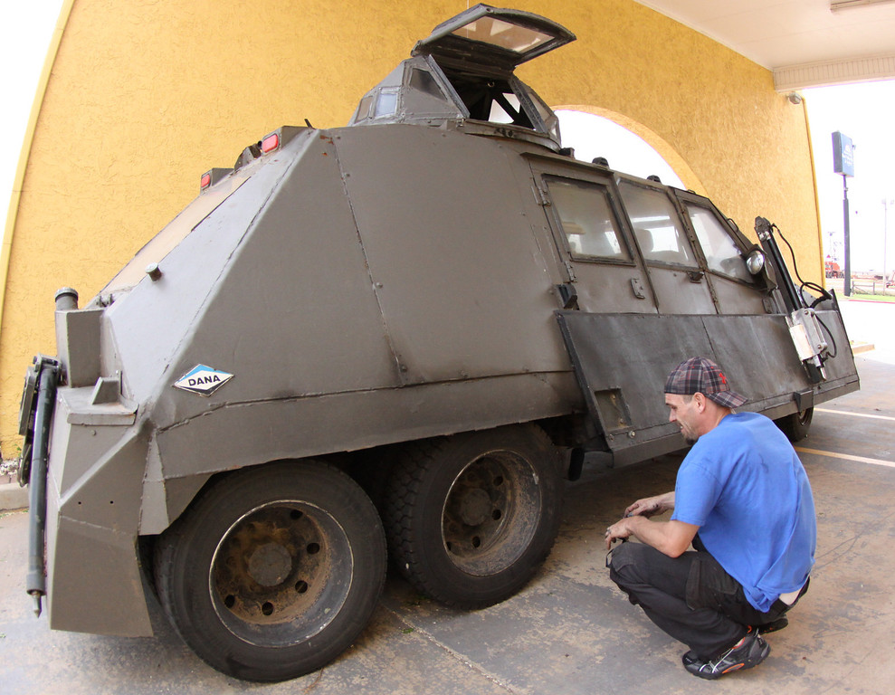 . Storm Chaser with TIV-2m(Tornado Intercept Vehicle) driver Jonathan Morrison as they gets ready to start on another tornado IMAX film with the National Geographic in El Reno, Oklahoma Friday April 25,2014.April  26,2014. Photo by Gene Blevins/LA Daily News