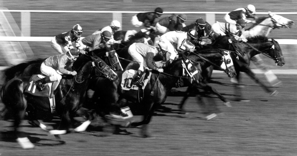 . Fillies and mares, 3-years and upward, break out of the gate at Hollywood Park. 12/2/92   (Los Angeles Daily News file photo)