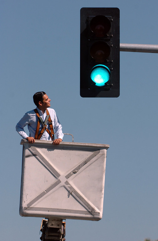 . Long Beach Vice Mayor Robert Garcia unveils the new traffic signal at Pacific Avenue and Ninth Street in Long Beach, CA. Monday September 16, 2013.    (Photo by Thomas R. Cordova/ Daily Breeze)