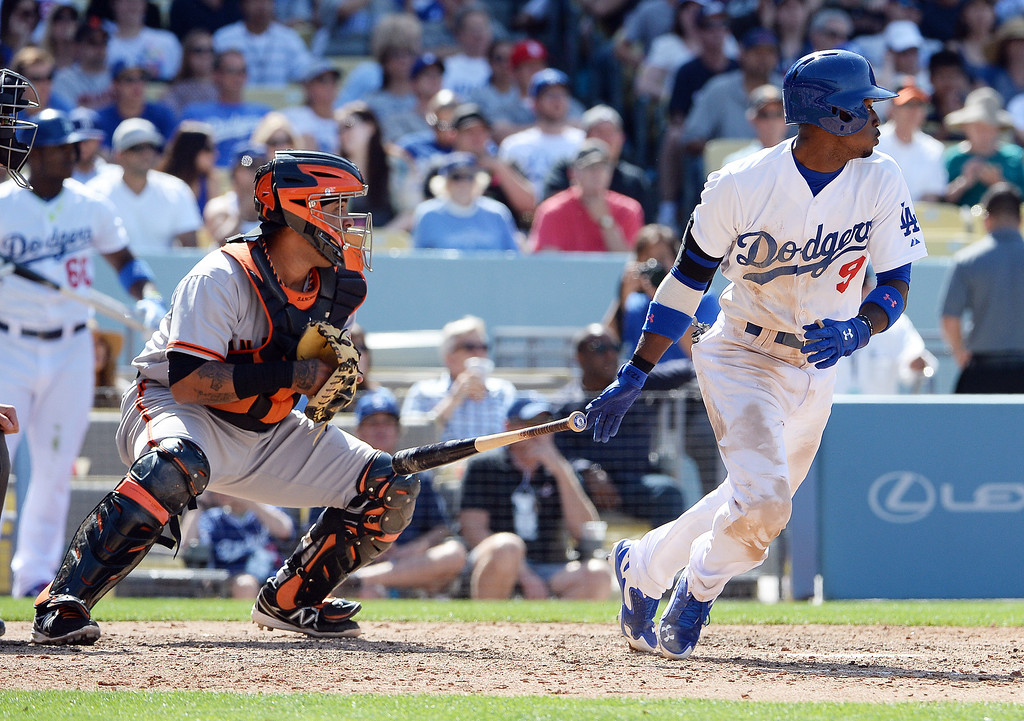 . Los Angeles Dodgers\' Dee Gordon watches his RBI double in the seventh inning of a Major league baseball game against the San Francisco Giants on Saturday, May 10, 2013 in Los Angeles.   (Keith Birmingham/Pasadena Star-News)