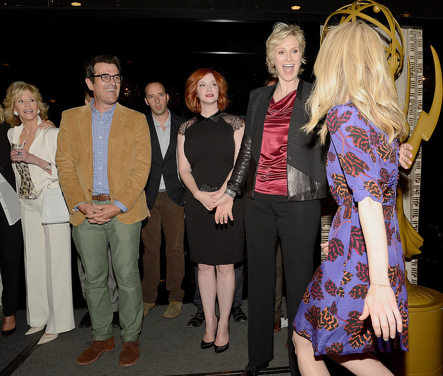 . From left, actors Jane Fonda, Ty Burrell, Tony Hale, Christina Hendricks, Jane Lynch and Sarah Paulson attend the Academy of Television Arts & Sciences 2013 Performers Peer Group Reception on Monday, August 19, 2013 at the Sheraton Universal Hotel in Universal City, Calif. (Photo by Phil McCarten/Invision for Academy of Television Arts & Sciences/AP Images)