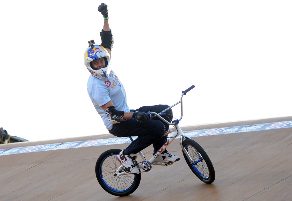 . Kevin Robinson finished sixth for his final ride of his career during the GoPro BMX Big Air Final at Irwindale Speedway on Friday, Aug. 2, 2013 in Irwindale, Calif. Morgan Wade won the gold medal.