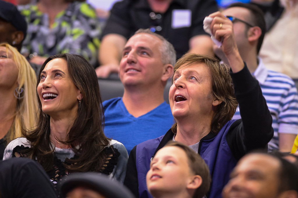 . Sir Paul McCartney and his wife Nancy Shevell watch the Clippers take on the Lakers at Staples Center Sunday April 6, 2014. Clippers defeated the Lakers 120-97.  ( Photo by David Crane/Los Angeles Daily News )