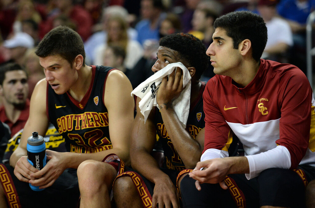 . Southern California bench late in the second half of a PAC-12 NCAA basketball game against UCLA at Galen Center in Los Angeles, Calif., on Saturday, Feb. 8, 2014. UCLA won 83-73. (Keith Birmingham Pasadena Star-News)