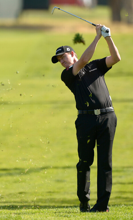 . Jimmy Walker hits from the 2nd fairway. Bubba Watson would become the eventual winner of the 2014 Northern Trust Open. Pacific Palisades, CA. February 16, 2014 (Photo by John McCoy / Los Angeles Daily News)