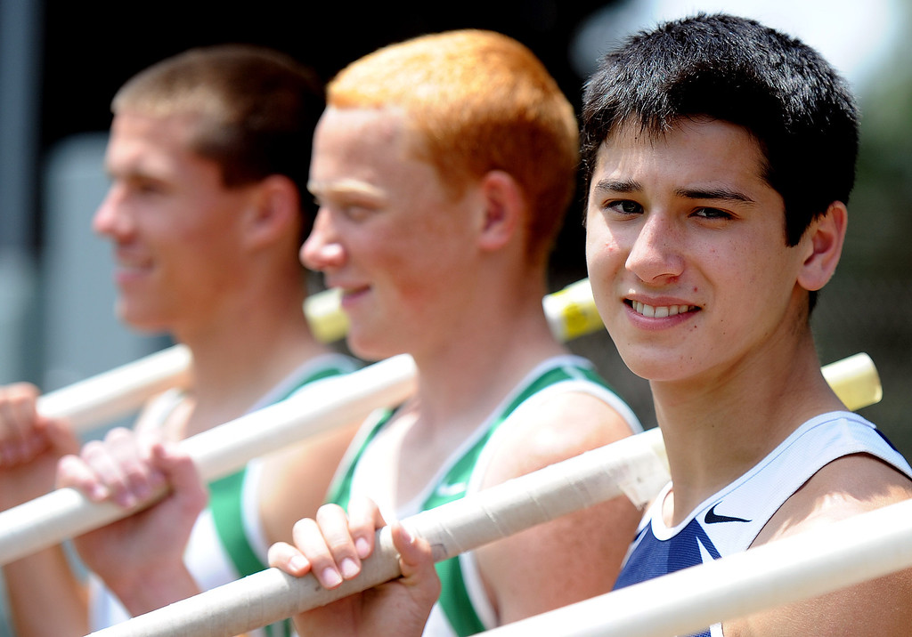 . Flintridge Prep\'s Barrett Weiss poses for a photograph after finishing second in the pole vault during the CIF-SS track & Field championship finals in Hilmer Stadium on the campus of Mt. San Antonio College on Saturday, May 18, 2013 in Walnut, Calif.  (Keith Birmingham Pasadena Star-News)