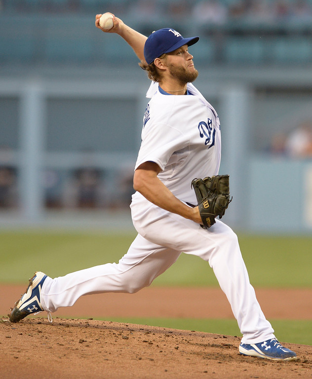 . Clayton Kershaw on the mound in the 2nd inning. The Dodgers played the Colorado Rockies at Dodger Stadium in Los Angeles, CA. 6/18/2014(Photo by John McCoy Daily News)