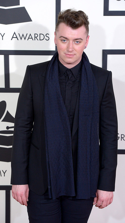 . Sam Smith arrives at the 56th Annual GRAMMY Awards at Staples Center in Los Angeles, California on Sunday January 26, 2014 (Photo by David Crane / Los Angeles Daily News)