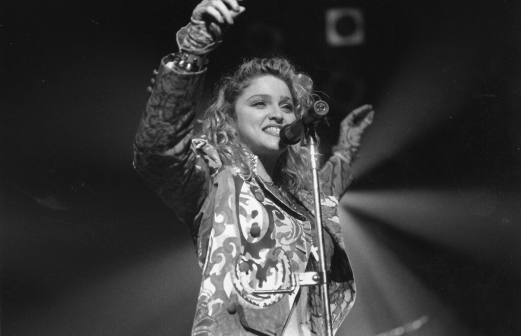 . Pop star Madonna sings in Seattle as she opened her first national tour on April 10, 1985.  (AP Photo/Barry Sweet)