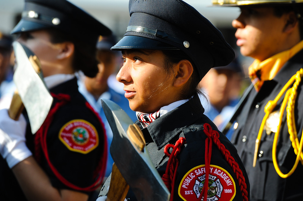 . Young cadets pay tribute to those who lost their lives in the 9/11 terrorism attacks during a 9/11 remembrance ceremony at the Public Safety Academy in San Bernardino on Wednesday, Sept. 11, 2013. (Photo by Rachel Luna / San Bernardino Sun)
