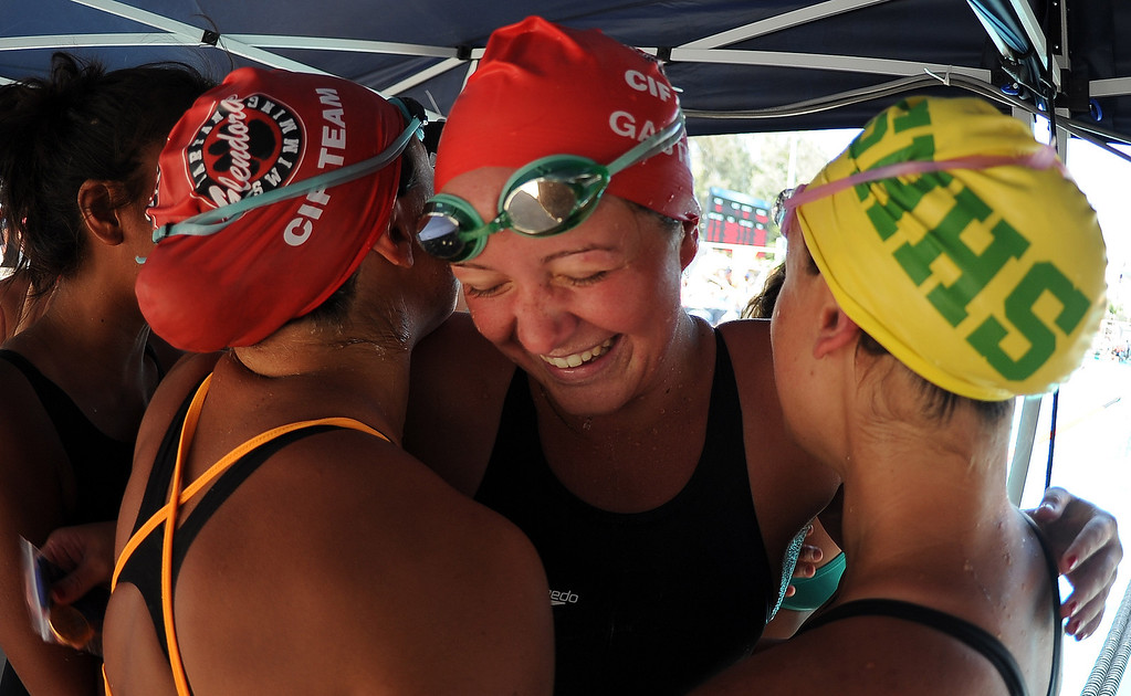. Glendora\'s Nicole Gautreau reacts after winning the 500 freestyle during the CIF-SS Division II swim finals at Riverside City College on Saturday, May 11, 2013 in Riverside, Calif.  (Keith Birmingham Pasadena Star-News)