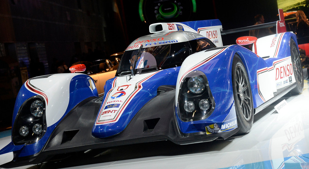 . Nov 22,2013 Los Angeles CA. Toyota TS030 Hybrid replica Le Mans car on display during the 2nd media day. The show opens to the public today Friday and runs through Dec 1st.  Photo by Gene Blevins/LA Daily News