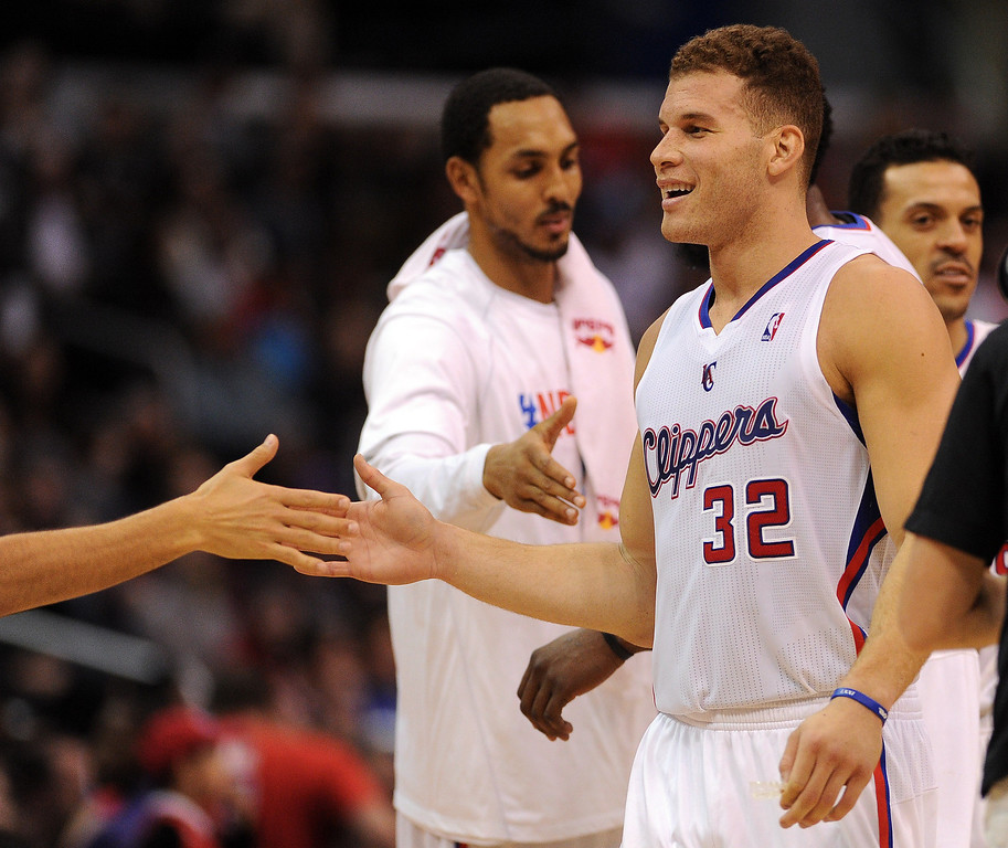 . The Clippers� Blake Griffin #32 during their game against the Raptors at the Staples Center in Los Angeles Friday, February 7, 2014. (Photo by Hans Gutknecht/Los Angeles Daily News)