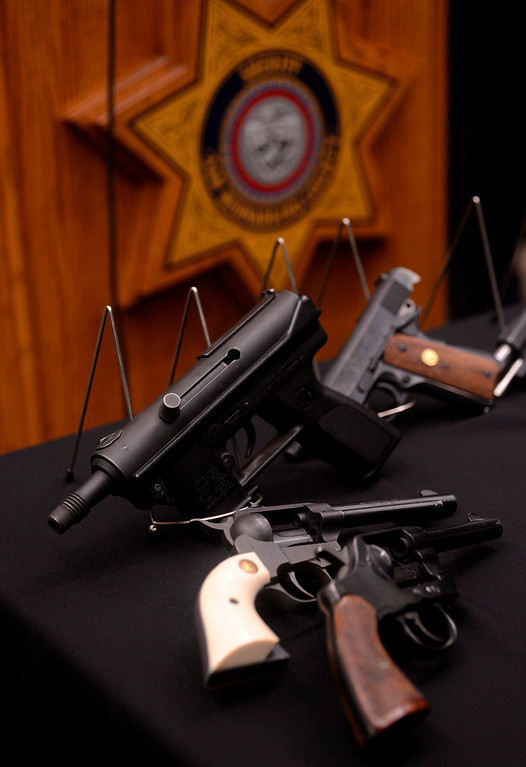 . A view of previously confiscated firearms as seen at the San Bernardino County Sheriff\'s Department in San Bernardino May 31, 2013.   GABRIEL LUIS ACOSTA/STAFF PHOTOGRAPHER.