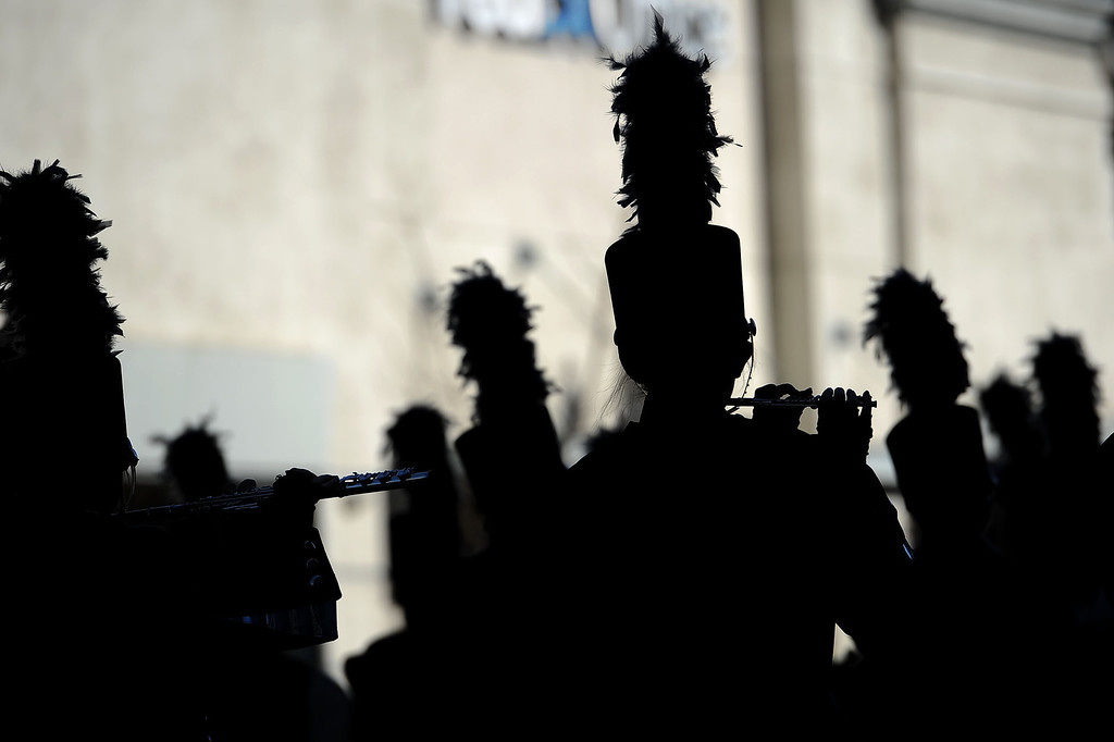 . A marching band makes their way down Colorado Blvd. during the 2014 Rose Parade in Pasadena, CA January 1, 2014.(Andy Holzman/Los Angeles Daily News)