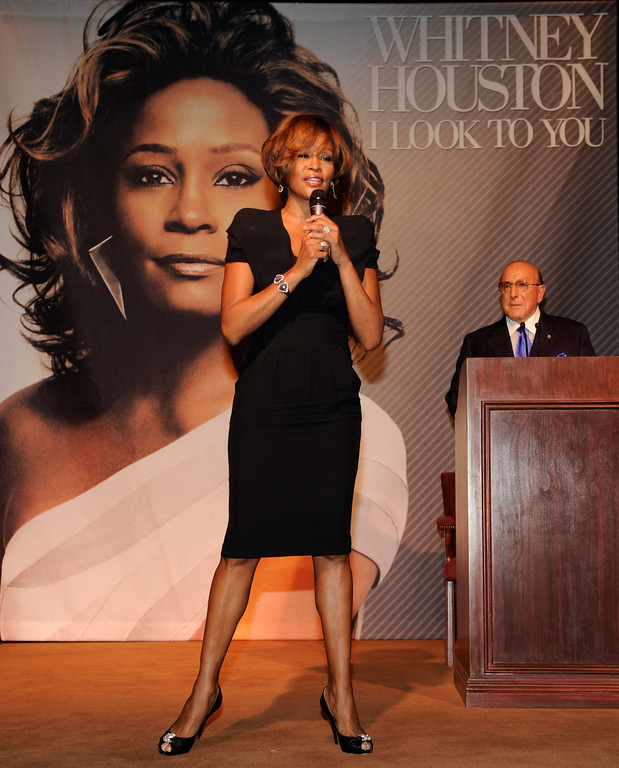 """. (L-R) Singer Whitney Houston and Chief Creative Officer, Sony Music Worldwide, Clive Davis during the Whitney Houston \""""I Look To You\"""" CD Listening Party held at the Beverly Hilton Hotel on July 23, 2009 in Beverly Hills, California. (Photo by Frank Micelotta/Sony Music)"""