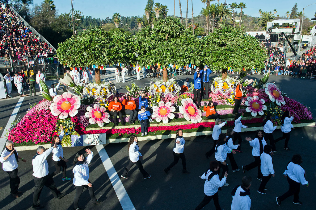 ". City of Hope ""Turning Hope and Dreams into Reality\"" float during 2014 Rose Parade in Pasadena, Calif. on January 1, 2014. (Staff photo by Leo Jarzomb/ Pasadena Star-News)"