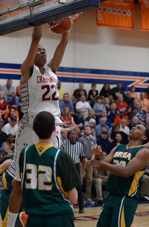 . Chaminade#22 Trevor Stanback dunks over Brea Olinda#32 Collin Greenwood. The boys from Chaminade defeated Brea Olinda 77-49 in a state regional semifinals game. West Hills, CA. March 18, 2014 (Photo by John McCoy / Los Angeles Daily News)