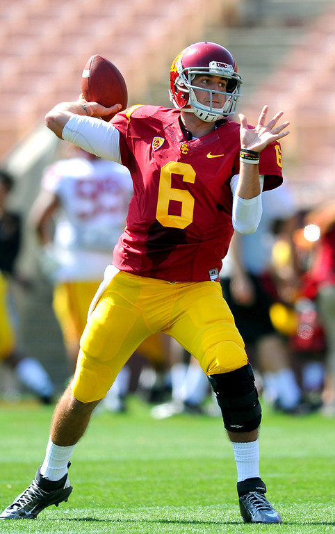. USC QB Cody Kessler passes during their spring game, Saturday, April 19, 2014, at the Coliseum. (Photo by Michael Owen Baker/L.A. Daily News)