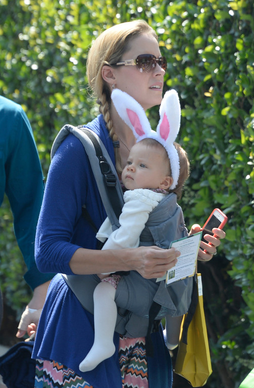 . April 20,2014, Hollywood CA. Mother\'s had their babies dress up in bunny costumes, during the 2014 Hollywood bowl easter service by the Christian Assembly Church, Fellowship Monrovia, and Bel Air Presbyterian Church.  Photo by Gene Blevins/LA Daily News