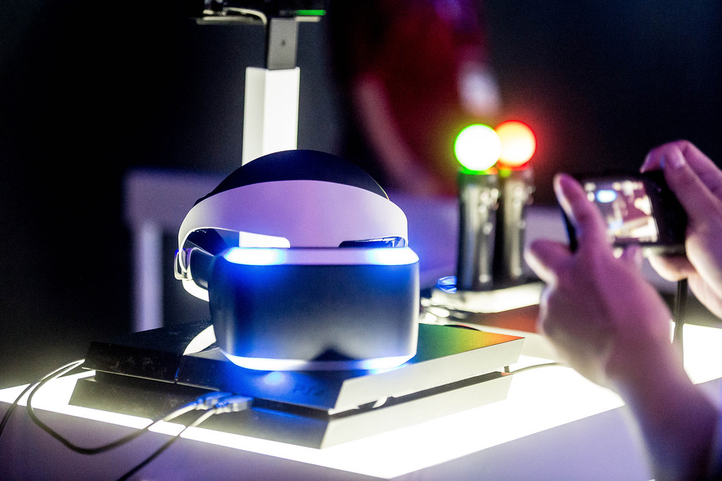 . The headset for Sony\'s PS4 Project Morpheus virtual reality at the Electronic Entertainment Expo in Los Angeles on Tuesday, June 10, 2014. (Photo by Watchara Phomicinda)